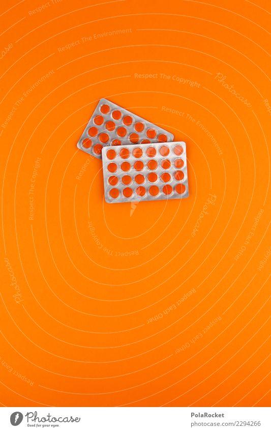 #A# Medi-Pack Art Esthetic Pill Medication Medical technology Medicine man Many Orange Healthy Improvement Common cold Vitamin Vitamin C Colour photo