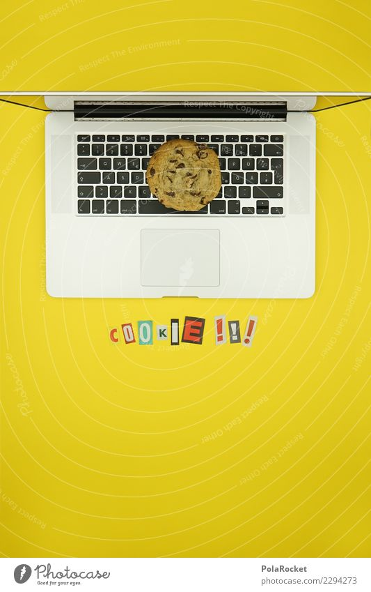 #AS# Cookie Alarm Computer Fear Notebook Safety Concern Art Esthetic Creativity Virus Attack Aggressive Letters (alphabet) Newspaper Yellow Data protection