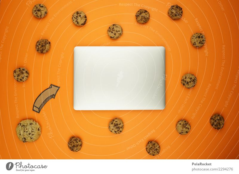 #AS# Cookie attack Art Esthetic Creativity cookie Virus Attack Aggressive Notebook Data protection error message Orange Many Comic Internet Pattern Arrow Date