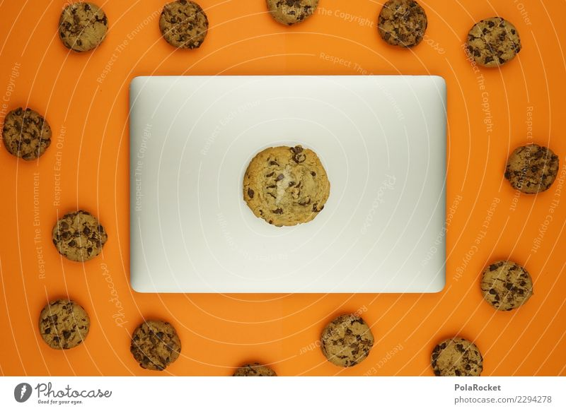 #AS# Big Cookies Inside ? Notebook Safety Computer Concern Art Esthetic Creativity Virus Attack Aggressive Data protection error message Orange Many Comic