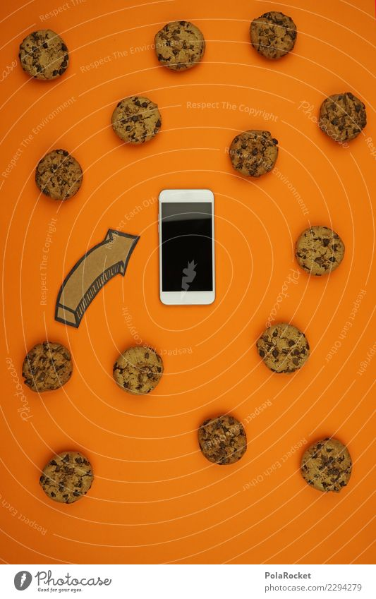 #AS# Cookies everywhere Cellphone Fear Computer cookie Arrow Orange Safety Spy Virus Attack Aggressive Creativity Esthetic Data protection Many Private sphere