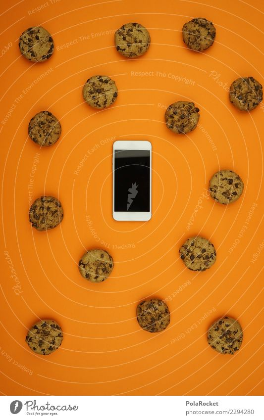 #AS# Cookies everywhere II Cellphone Fear White cookies Orange Safety Spy Attack Many Aggressive Creativity Esthetic Data protection Private sphere