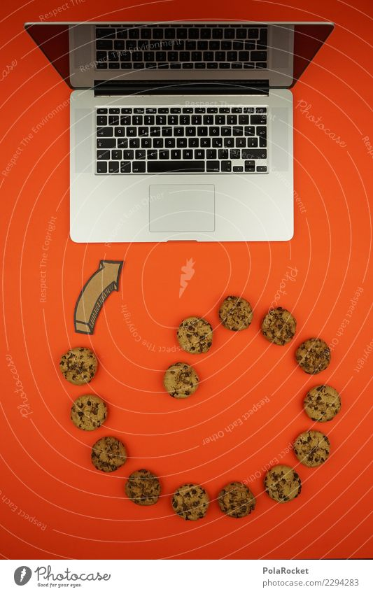 #AS# Cookie Tornado Computer Fear Concern Art Esthetic Creativity cookie Virus Attack Aggressive Notebook Data protection Orange Keyboard error message Many