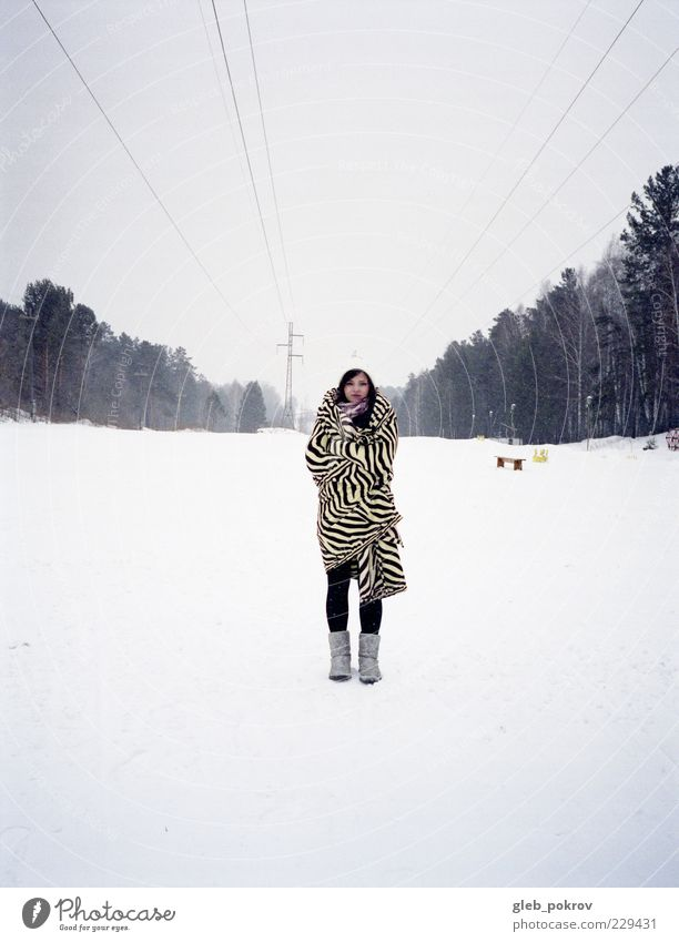 Doc #plant portrait Human being Youth (Young adults) White Blue Winter Forest Snow Style Landscape Wait Free Stand Friendliness Russia Vacation & Travel