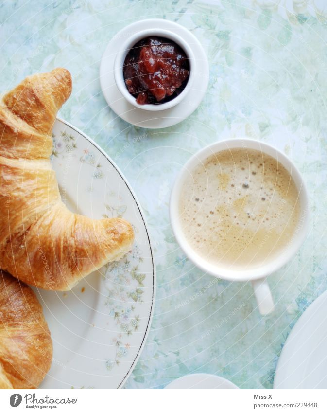 Breakfast for everyone Food Dough Baked goods Croissant Jam Nutrition To have a coffee Slow food Beverage Hot drink Coffee Delicious Sweet Breakfast table