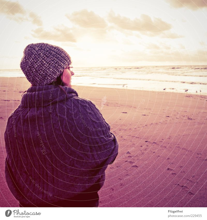 Human being Sky Youth (Young adults) Vacation & Travel Ocean Loneliness Clouds Beach Young woman Far-off places Cold Autumn Feminine Sand Horizon Dream