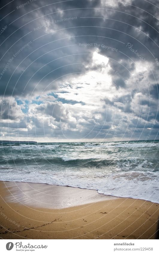 ray of hope Environment Nature Landscape Elements Water Clouds Climate Weather Storm Wind Gale Waves Coast Beach Ocean Dark Change Bright spot Hope Dramatic