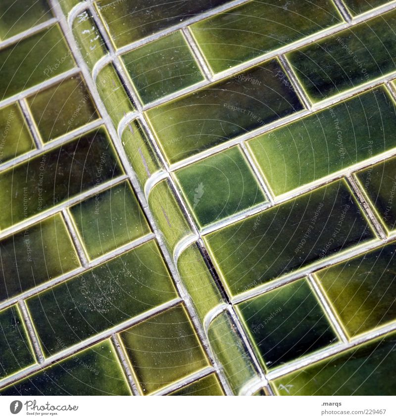 wall Wall (barrier) Wall (building) Facade Line Simple Green Tile Mosaic Colour photo Close-up Pattern Structures and shapes Tilt Detail Deserted Insulation
