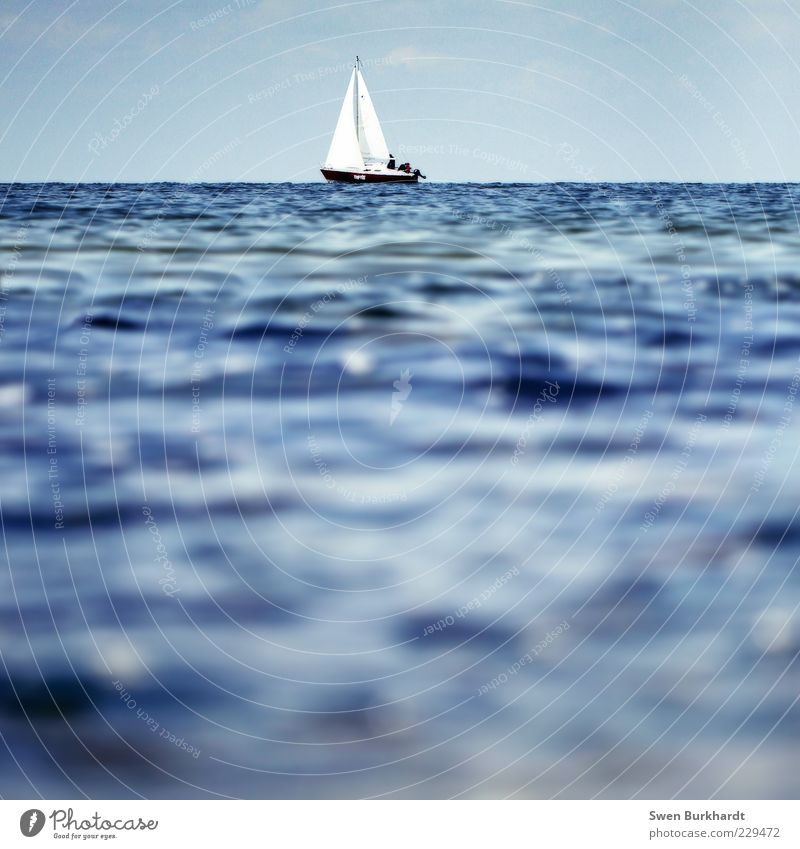 out of reach Far-off places Summer Ocean Waves Sports Sailboat Sailing Environment Elements Water Sky Horizon Beautiful weather Baltic Sea Yacht Sailing ship