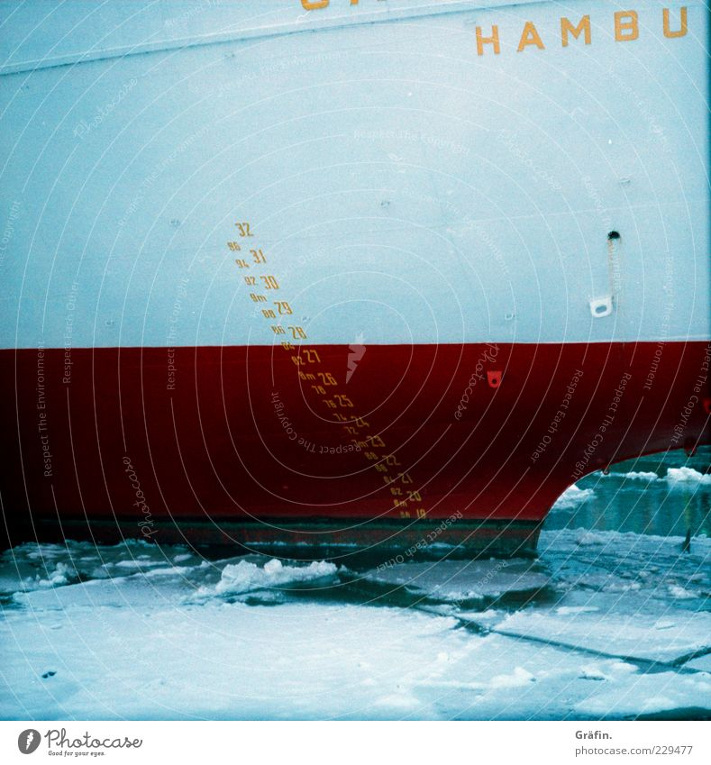 Water Blue White Red Winter Cold Watercraft Ice Large Hamburg Characters Frost Digits and numbers Sign Mobility Tourist Attraction