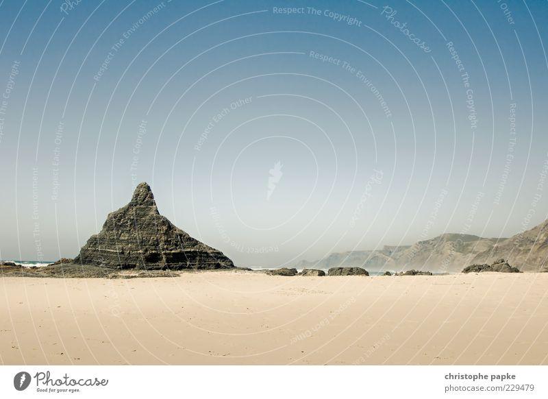 Ocean Summer Beach Far-off places Sand Coast Stone Waves Rock Point Desert Hot Beautiful weather Spain Blue sky Portugal