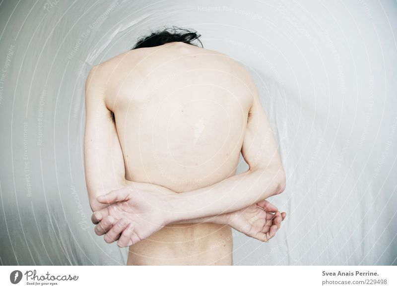 drawn. Masculine Body Skin Back Arm Hand 1 Human being 18 - 30 years Youth (Young adults) Adults Stand Naked Thin Sadness Concern Disappointment Abstract Statue