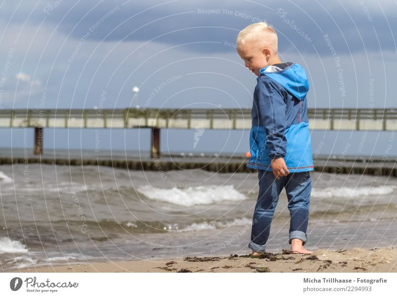Child Human being Sky Vacation & Travel Blue Water Landscape White Sun Ocean Relaxation Clouds Beach Face Boy (child) Playing