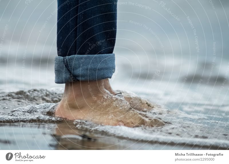 Barefoot in the sea Wellness Life Swimming & Bathing Vacation & Travel Tourism Beach Ocean Waves Human being Feet Nature Sand Water Baltic Sea Jeans Movement