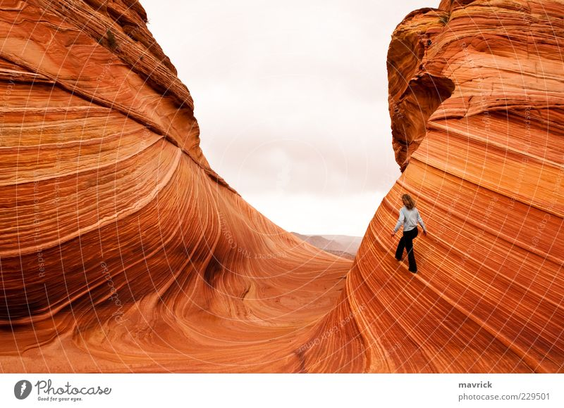 walking the fine line Human being Nature Beautiful Vacation & Travel Summer Yellow Life Landscape Stone Moody Earth Rock Hiking Wild Adventure Esthetic