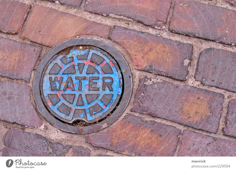 thirst Water Brick Dry Blue Brown Fear of the future Crisis Survive Past agua iron paint Tomb Colour photo Close-up Abstract Deserted Copy Space right Day