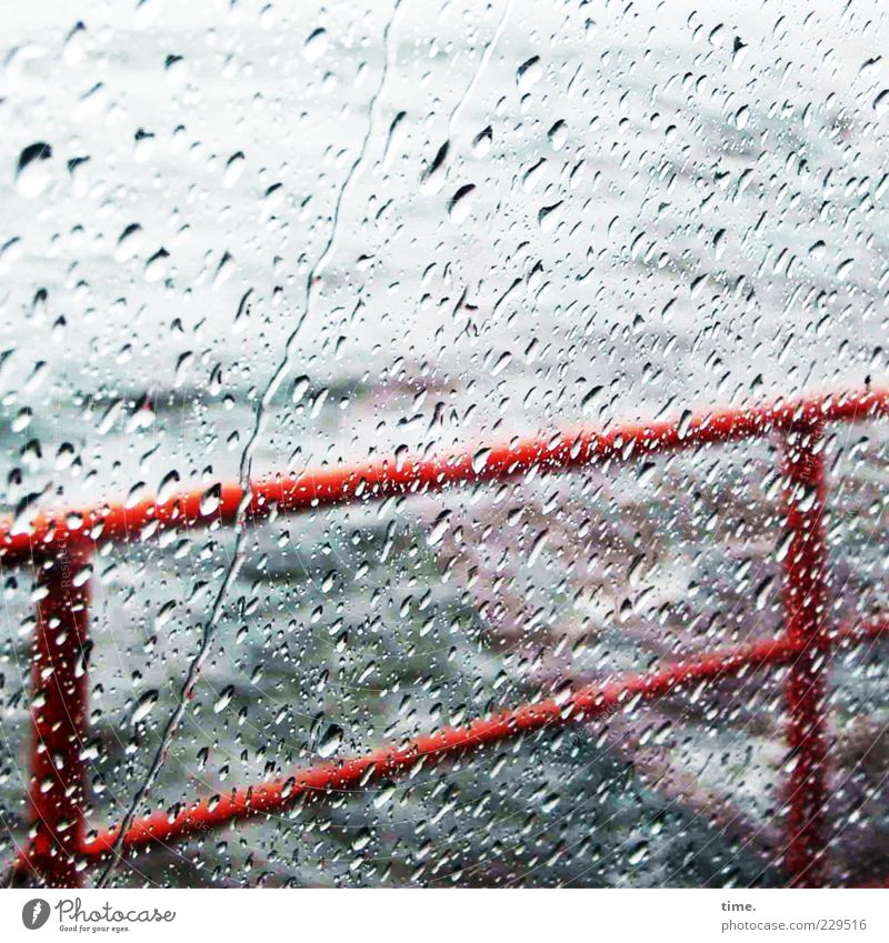Water Blue Red Movement Sadness Rain Weather Watercraft Wet Drops of water Safety Threat Concentrate Gale Handrail Rainwater