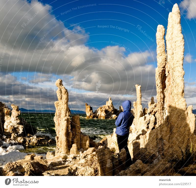 Mono Lake Tufa Statues Woman Nature Green Blue Vacation & Travel Lake Park Landscape Coast Adults Environment USA Observe Uniqueness Wild