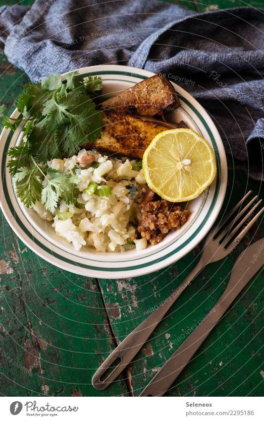 Blu with tofu Food Vegetable Fruit Lemon Cauliflower Tofu Herbs and spices Nutrition Lunch Dinner Organic produce Vegetarian diet Diet Vegan diet Cutlery Fresh