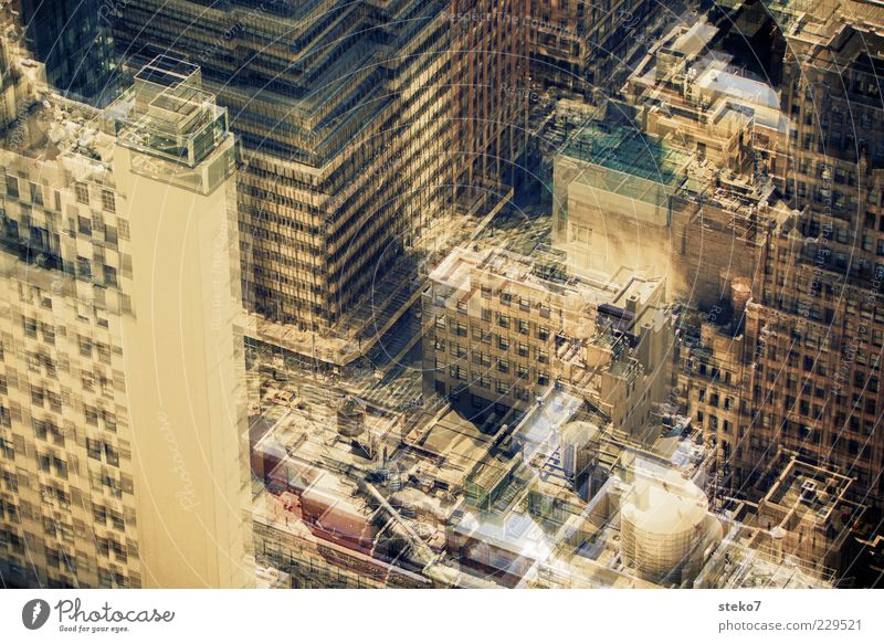 the swindle Capital city Downtown High-rise Facade Roof Sharp-edged Town Design Modern Perspective Double exposure Blur Depth of field Agitated Colour photo