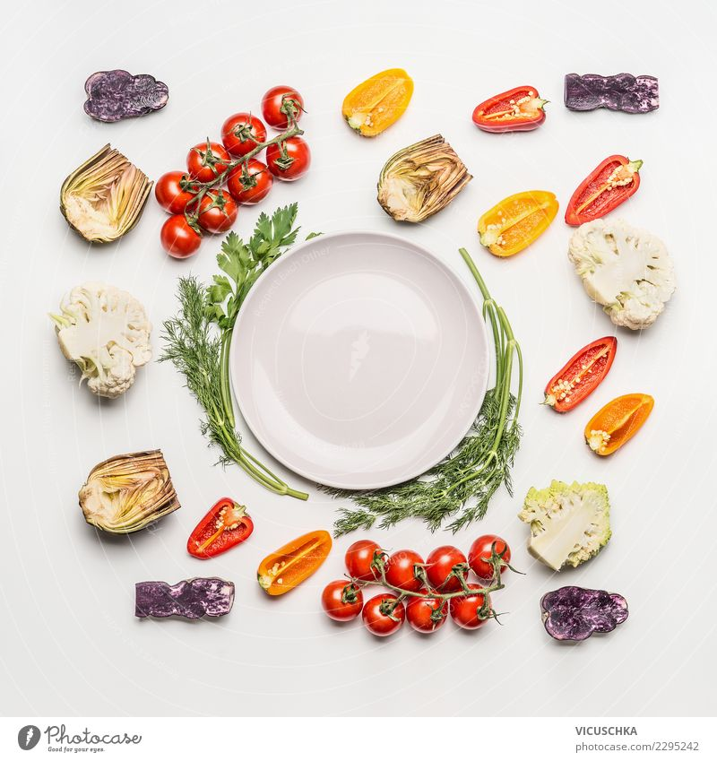 Colored salad vegetables around empty plate Food Vegetable Lettuce Salad Nutrition Lunch Organic produce Vegetarian diet Diet Plate Style Design Healthy Eating