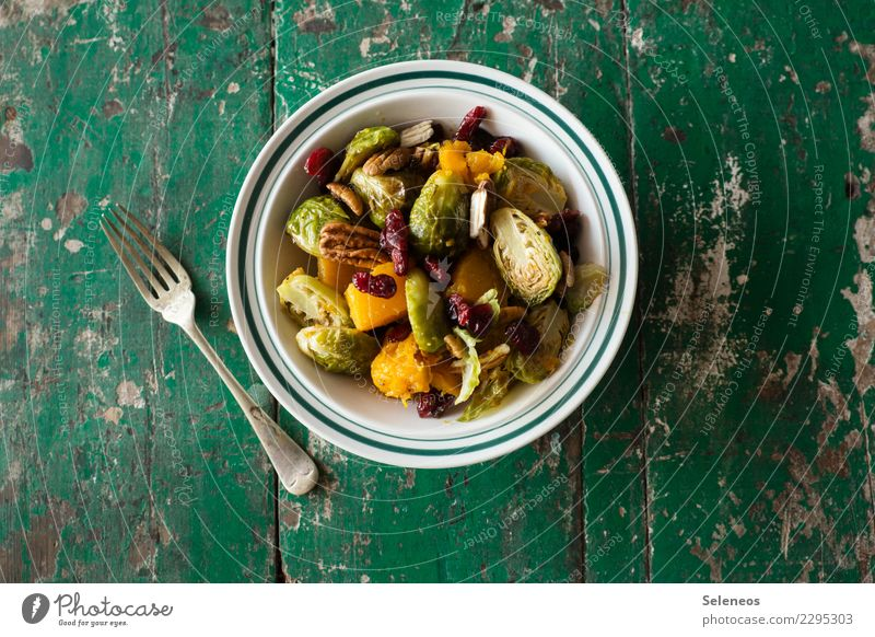 Brussels sprouts salad Food Vegetable Lettuce Salad butternut Pumpkin Cowberry pecan nut Nut Nutrition Eating Lunch Dinner Organic produce Vegetarian diet Diet