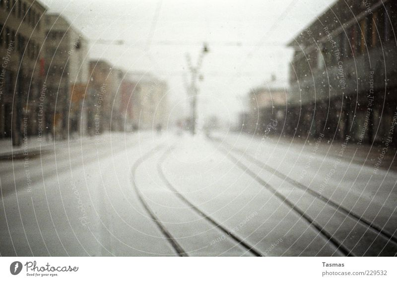 Winter Loneliness Snow Snowfall Weather Facade Railroad tracks Storm To enjoy Train station Enthusiasm City Bad weather Overhead line Town Housefront