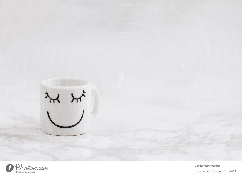 Coffee cup with smiliey face Beautiful White Relaxation Joy Black Face Warmth Lifestyle Love Style Art Happy Brown Design Office Elegant