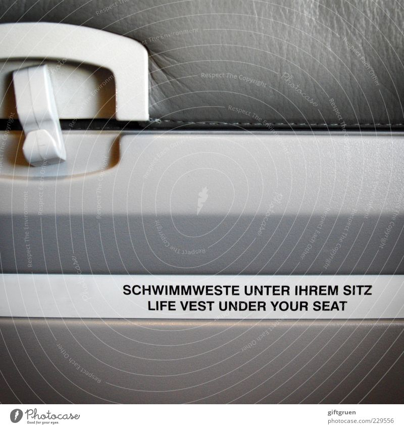 Gray Airplane Characters Safety Letters (alphabet) Signage Protection Plastic Information Aircraft Fear of death Word Rescue Clue Seat Passenger traffic