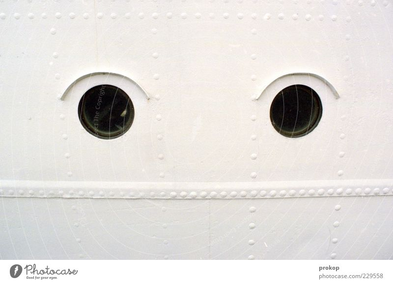 opaque Steel Bright Porthole Watercraft Window Looking Rivet Funny Humor Colour photo Exterior shot Detail Deserted Day Deep depth of field Long shot Eyes