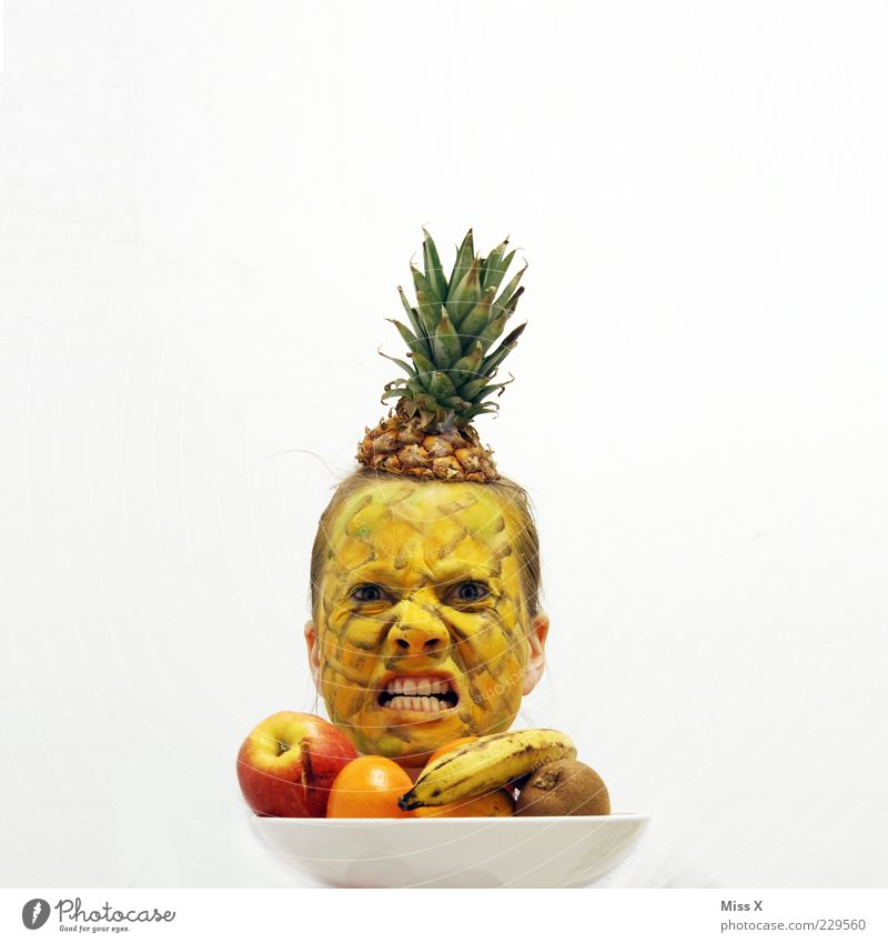 Human being Woman Youth (Young adults) Young woman Adults Face 18 - 30 years Funny Head Exceptional Food Fruit Nutrition Anger Mask Carnival