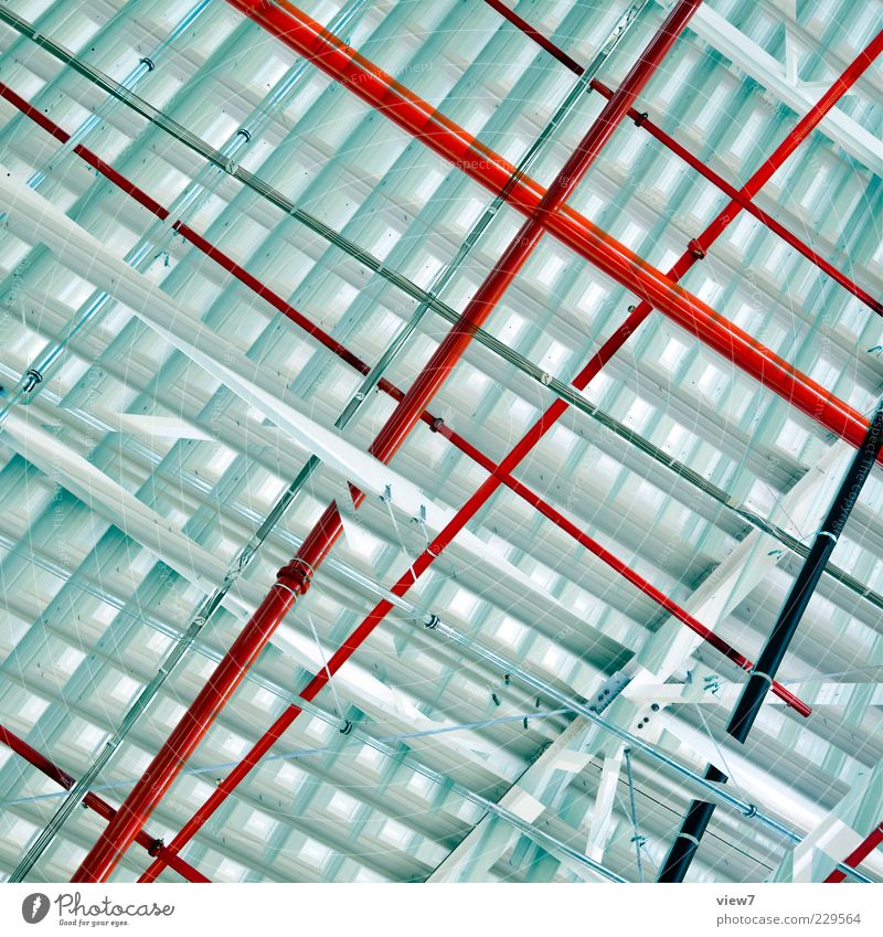 Beautiful Red Wall (building) Above Wall (barrier) Metal Line Background picture Design Modern Esthetic Authentic Stripe Pipe Chaos Positive