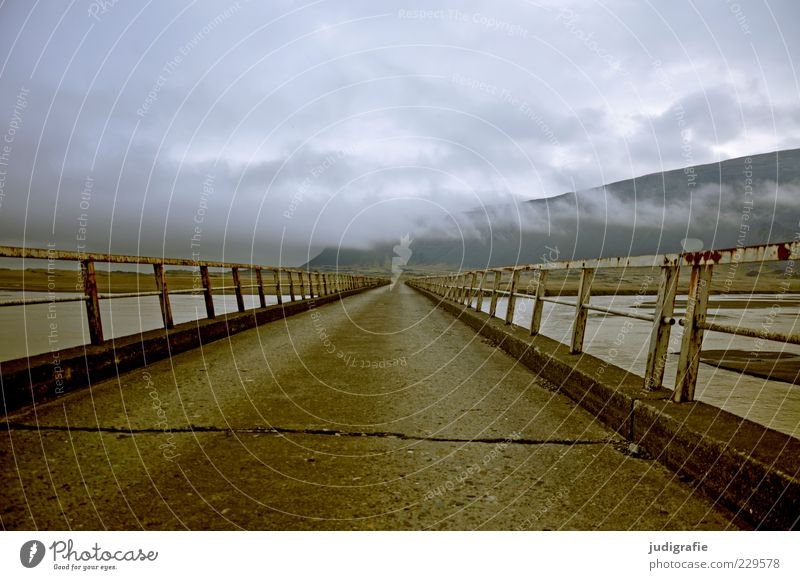 Iceland Environment Nature Landscape Sky Clouds Climate Mountain Bridge Street Exceptional Dark Moody Handrail Colour photo Exterior shot Deserted Day