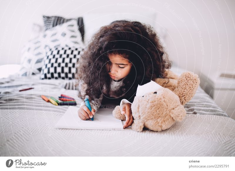 African american little girl drawing with crayons Joy Happy Beautiful Child School Woman Adults Infancy Paper Smiling Dream Happiness Small Cute Black african