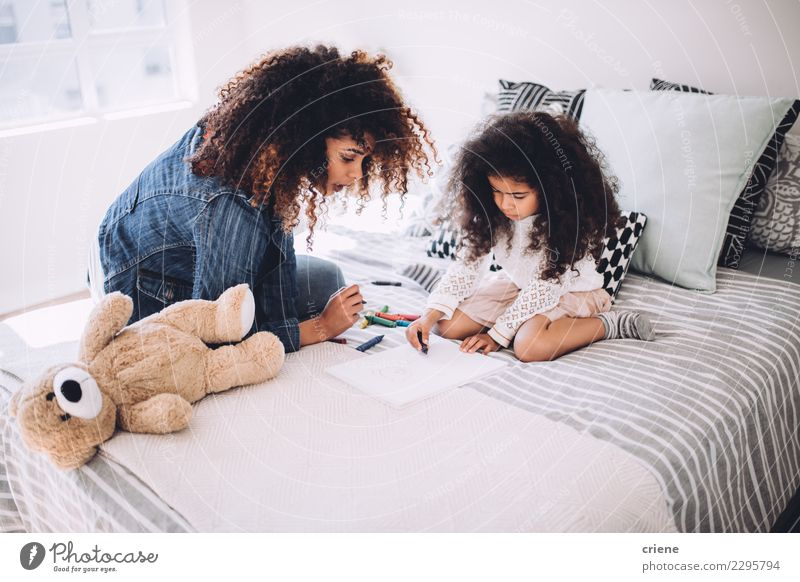 African american mother and daughter drawing together Child Woman Human being Colour Black Adults Family & Relations Small Art Happy Infancy Creativity Cute