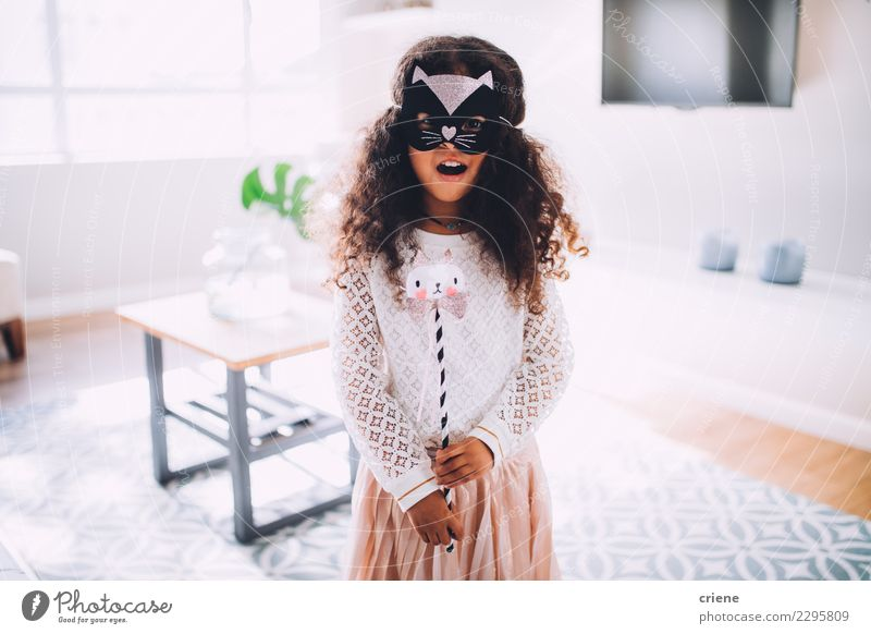 Happy Little girl in costume with cat mask at home Cat Child Animal Small Fashion Infancy Birthday Cute Dress Princess