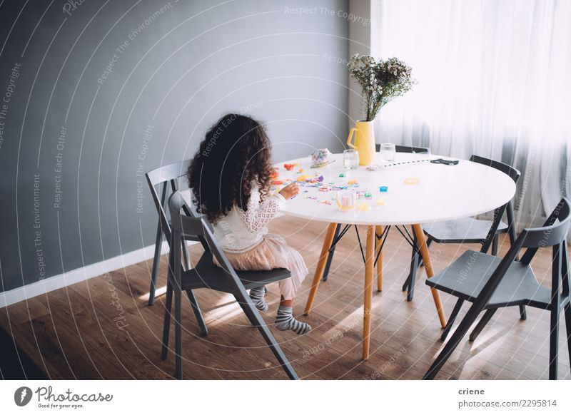 Little girl having fun playing with toys on table Joy Happy Playing Table Kindergarten Child School Infancy Paper Pen Together Cute blocks kid people young
