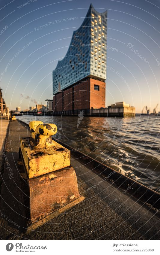 Hamburg Harbour Elbphilharmonie Sunset Europe Germany Elbe Town Elbe Philharmonic Hall Water Channel Sky Gorgeous Beautiful Harbor city Bridge Footbridge Winter