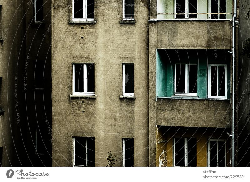 bedroom view House (Residential Structure) Manmade structures Building Facade Balcony Window Town Uninhabited Gloomy Dark Concrete Colour photo Exterior shot