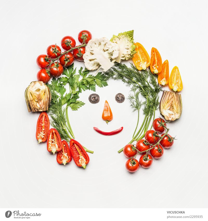 Funny face from salad vegetables Food Vegetable Lettuce Salad Style Design Joy Healthy Healthy Eating Life Summer Human being Sign Fitness Vegan diet