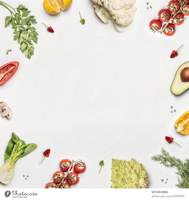 Salad vegetables frame on white background Food Vegetable Lettuce Organic produce Vegetarian diet Diet Style Design Healthy Healthy Eating Restaurant Ornament