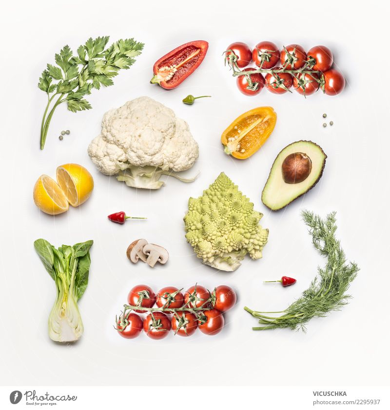Fresh vegetables flat lay Food Vegetable Nutrition Organic produce Vegetarian diet Diet Style Design Conceptual design Vegan diet Bright background