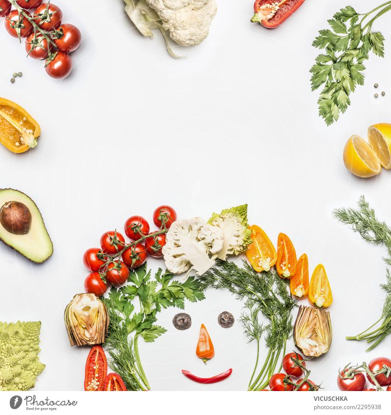 Healthy food with fresh vegetables Food Vegetable Lettuce Salad Organic produce Vegetarian diet Diet Style Design Healthy Eating Overweight Human being Face