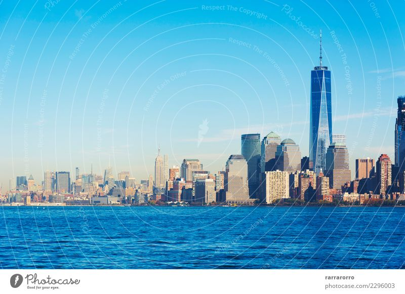 New York landscape skyline viewed from Liberty island Sky Vacation & Travel Town Architecture Building Business Tourism Office Modern High-rise USA Tall River