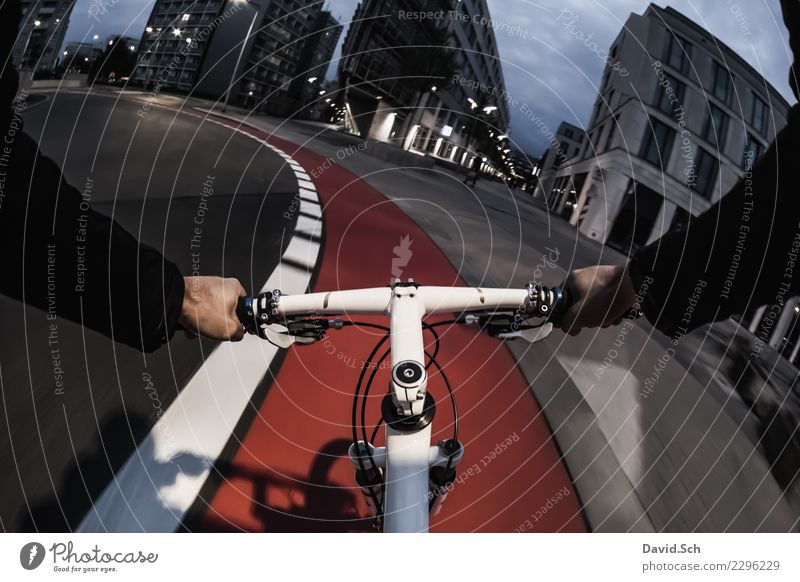 cyclist's perspective Leisure and hobbies Sports Cycling Human being Masculine Man Adults Arm Hand 1 Manmade structures Building Transport Means of transport