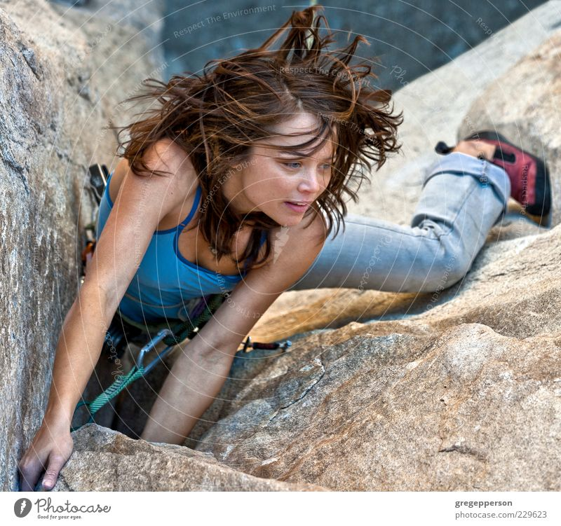 Female rock climber. Human being Youth (Young adults) Adults Sports Power Tall Adventure Rope Success 18 - 30 years Young woman Climbing Woman Risk Brave