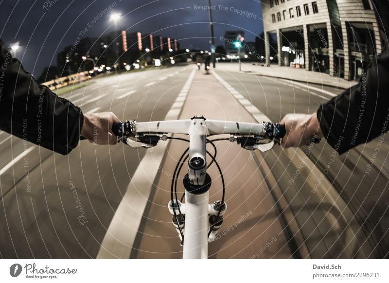 cyclist's perspective Leisure and hobbies Sports Cycling Masculine Arm Hand 1 Human being Transport Means of transport Passenger traffic Street Crossroads