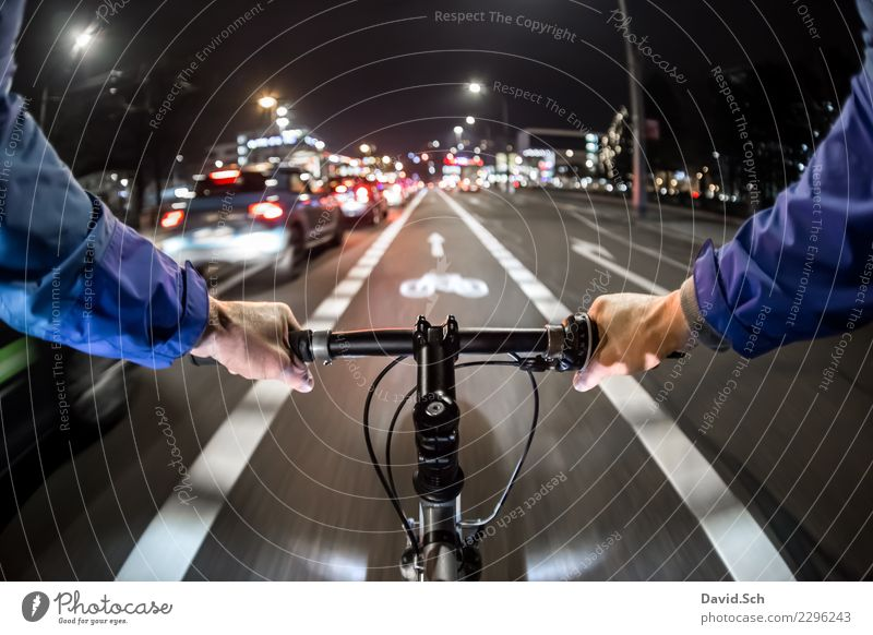 cyclist's perspective Lifestyle Leisure and hobbies Sports Office Human being Driving Power Colour photo Exterior shot Copy Space top Morning Evening Night