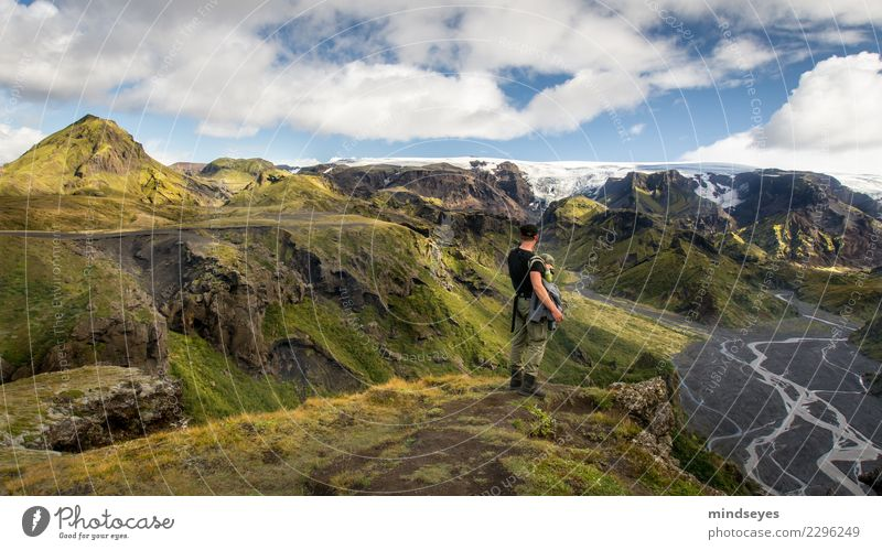 Human being Nature Man Summer Water Landscape Sun Relaxation Far-off places Mountain Adults Grass Together Masculine Hiking Earth