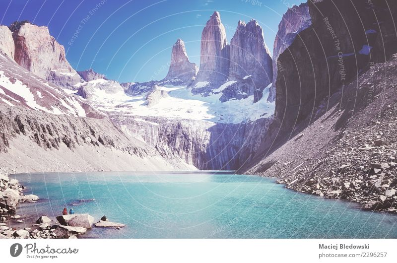 Torres del Paine mountain range, Patagonia, Chile. Sky Nature Vacation & Travel Summer Landscape Mountain Tourism Freedom Lake Rock Hiking Adventure Sightseeing